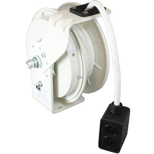 Kh Industries Rtb Series Reeltuff Power Cord Reel, 12 Awg 3 Conductor Seow White Cable And Four Receptacle Outlet Box, 20 Amp, 25' Length, White Powder Coat Finish