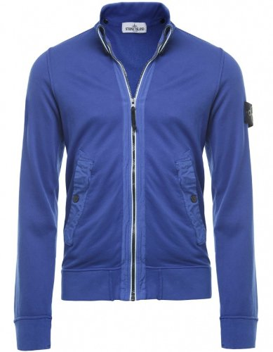 Stone Island Men's Sweater Blue Zip Through Sweatshirt L