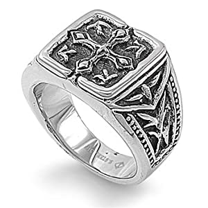 Stainless Steel 16mm Antique Cross Men's Ring (Size 9 - 12) - Size 12 [Jewelry]