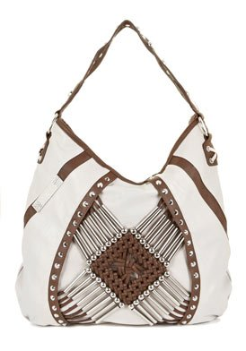 Natural & Brown Faux Leather Shoulder Bag: Natural & Brown Shoulder Bag
