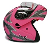 Matte Flat Pink Flip Up Full Face Modular Motorcycle Street Sport Bike Helmet DOT (Medium)