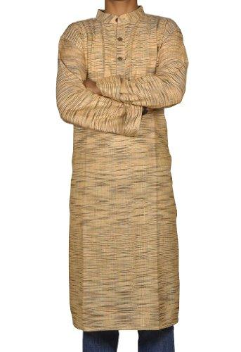 Handmade Casual Indian Khadi Mens Long Kurta Fabric For Winter & Summers Size-XXL