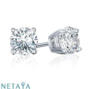 1/2 Ct. tw Diamond Stud Earrings in 14K White Gold (4-Prong, Round-Cut, I-J, I2-I3)