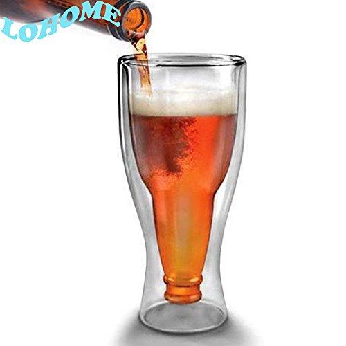 LOHOME (TM) Creative 350ml Double-deck Beer Glass Mug Cup Transparent