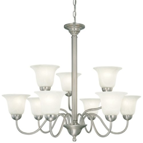 Thomas Lighting SL8813-78 Riva Nine-Light foyer/hall fixture Brushed Nickel Finish with Etched Alabaster Style Glass