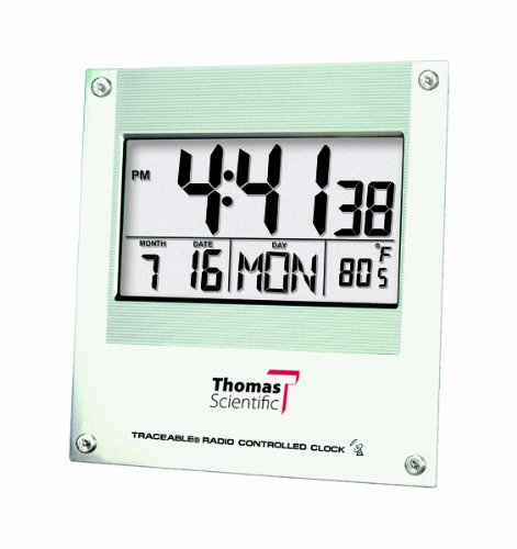 Thomas 1076 Traceable Digital Radio Atomic Wall Clock with 2-1/4
