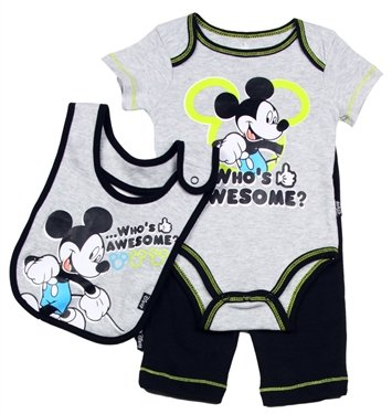Mickey Mouse Baby Boys Pant Shirt & Bib Clothing