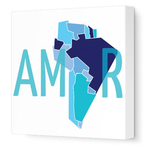 "Avalisa Stretched Canvas Nursery Wall Art, South America Amor, Blue, 18"" x 18"""