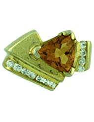 Carillon India Citrine 18K Yellow Gold Plated Cubic Zircon 925 Sterling Silver Ring