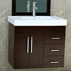 30 bathroom vanity wall mount solid wood cabinet ceramic top sink - Solid wood bathroom wall cabinet ...