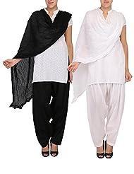 Womens Cottage Combo Pack Of 2 Pure Cotton Semi Patiala & Cotton Dupatta With Lace Set - B018PBHPNU