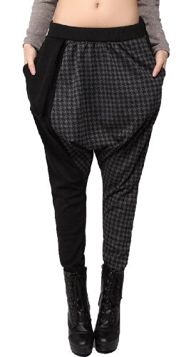 Ellazhu Baggy Genie Harem Hippie Hip-Hop Black & Grey Stiching Pants Trouser Onesize
