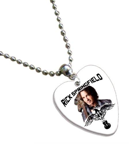 Rick Springfield Love Heart Chitarra Pick Collana Necklace Band Plettro Plettri