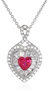 """Sterling Silver Created Ruby with Created White Sapphire Heart Pendant Necklace, 18"""""""