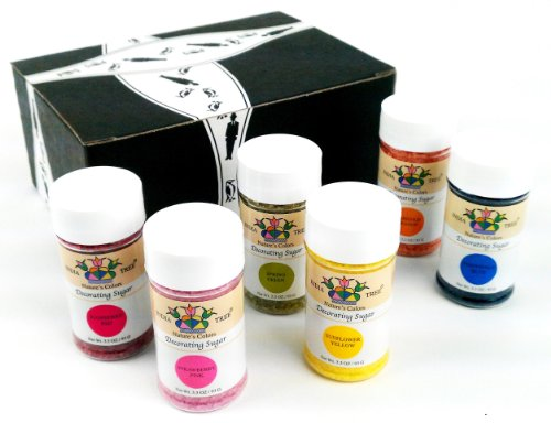 India Tree Nature'S Colors Decorating Sugars 6-Color Set: One 3.3 Oz Bottle Each Of Spring Green, Raspberry Red, Periwinkle Blue, Marigold Orange, Strawberry Pink, And Sunflower Yellow Decorating Sugar In A Gift Box front-963499