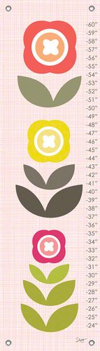 Oopsy Daisy Fine Art for Kids Modern Blooms Growth Chart by Stacy Amoo-Mensah, 12 by 42-Inch