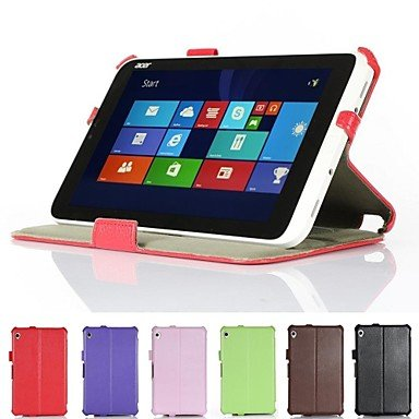 """Zcl Heat Setting Hard Back Leather Stand Case For Acer Iconia W3-810 8.1"""" Tablet , Red , 8"""