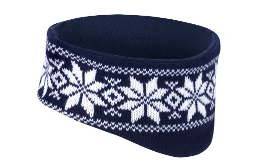 RESULT FAIR ISLE HEAD WARMER HEADBAND SKI HAT - 5 COLOURS (NAVY/WHITE)