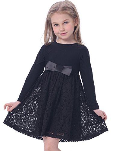 bonny-billy-robes-fille-decontractee-satin-dentelle-avec-arc-3-4-ans