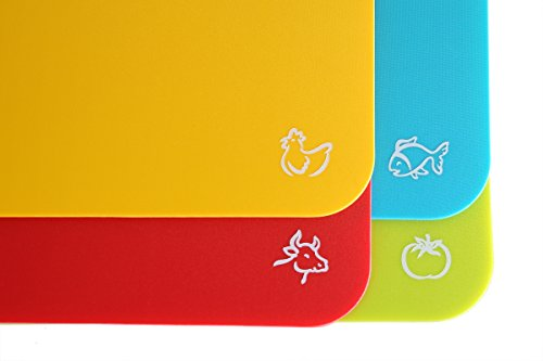 Flexible Cutting Board Mats With Food Icons Extra Thick Plastic 2MM Hanging Nonslip Antimicrobial Easy to Clean (Set of 4) by Foodie Aid (Kitchen Cutting Board Plastic compare prices)
