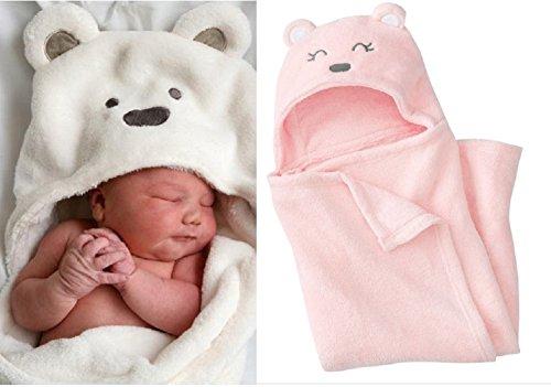 【ノーブランド品】赤ちゃん おくるみ かわいいくまさん ベルベットのような肌触り (ピンクのくまさん)
