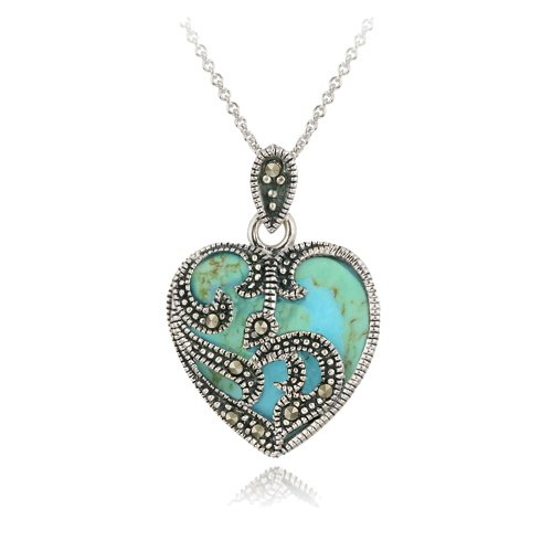 Sterling Silver Marcasite & Turquoise Heart Necklace,
