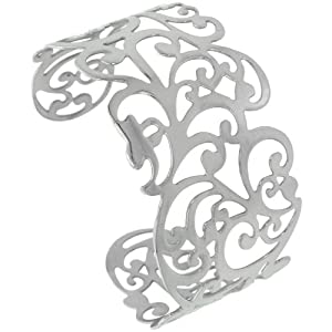 Stainless Steel Cuff Bangle Bracelet Floral Vine Cut-out pattern 1 1/2 inch wide, size 7.5 inch