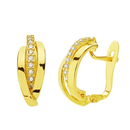 18K yellow gold earrings with cubic zirconia midband