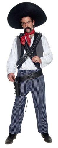 Smiffy's Men's Mexican Bandit Costume, Grey/White/Blue, Medium