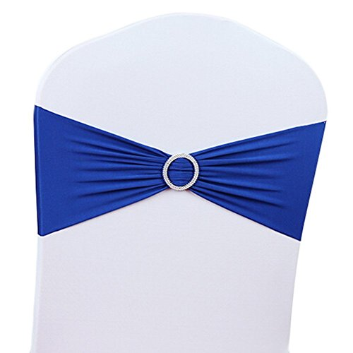 V-Dragons Stretch Chair Cover Band With Buckle Slider Sashes Bow Wedding Banquet Party Decorations (50, Royal Blue)