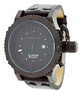 Adee Kaye AK7211-MIPB Black Dial Men's Oversized Quartz