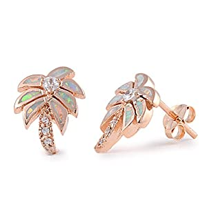 Rose Gold Plated Silver White Opal Palm Tree Stud Earrings - 12mm