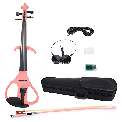 4/4 Size Crystal Electric Violin With Case And Other Accessories Pink And Black