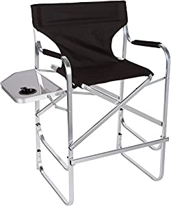 aluminum folding tall director 39 s chair with side table by trademark innovations. Black Bedroom Furniture Sets. Home Design Ideas