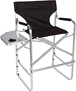 Aluminum Folding Tall Director 39 S Chair With Side Table By Trademark Innov