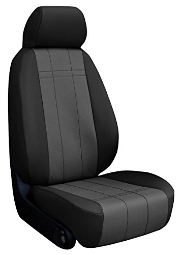 Custom Fit Ford Focus Seat Covers (2012-2014) Front Seat Set - In Leatherette Black W/ Charcoal Inserts - Sport Buckets W/ Adjustable Headrests (Standard On Titanium And St. Optional On Se And Sel) (No Fit On St Model With Recaro Seats)