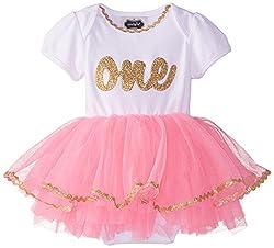 Mud Pie Baby-Girls Newborn I'M One Tutu Crawler, Pink, 9-12 Months