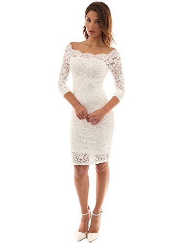 PattyBoutik Womenâ€s Off Shoulder Twin Set Floral Lace Dress (Off-White XL)
