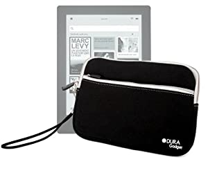 "DURAGADGET Black ""Travel"" Water Resilient Protective Neoprene Sleeve With Front Storage Pocket For Kobo Aura HD High-Res eReader at Electronic-Readers.com"