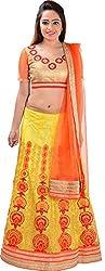 Panchi Women's Yellow and Orange Net Lehenga (P-Jalsa-3092)
