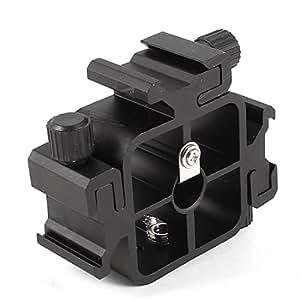 Triple Hot Shoe Mount Adapter Flash Light Stand Holder Bracket Black