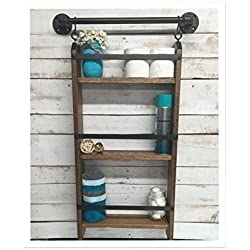 Bathroom ladder shelf, rustic bathroom shelf, industrial shelf, farmhouse shelf, cottage chic, home décor, shelf w/pipe towel bar