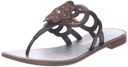 Grendha Women's Hippie Black Open Toe Flats 80699
