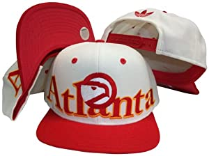 Atlanta Hawks White Red Two Tone Plastic Snapback Adjustable Plastic Snap Back Hat... by adidas