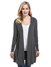 M&S Collection Pure Cashmere Hooded Longline Swing Cardigan