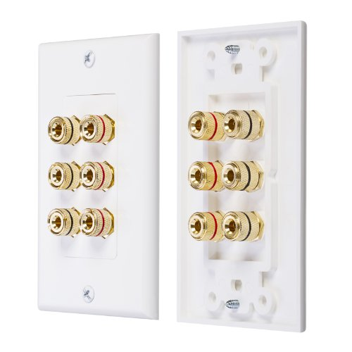 Fosmon [Triple Speaker] Home Theater Wall Plate - Premium Quality Gold Plated Copper Banana Binding Post Coupler Type Wall Plate For 3 Speakers (White)