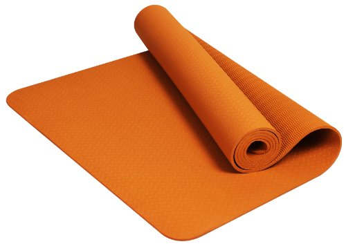 BalanceFrom GoYoga Premium 1/4-Inch Slip Resistant and Waterproof Yoga Mat with Carrying Strap (Orange)