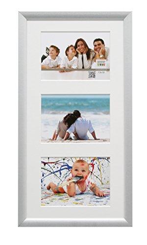 S54SD1 Bilderrahmen 13x18 Bilderrahmen Silberfarbe, für 3 Bilder Holz Fotokader