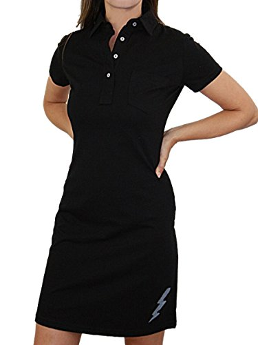 YogaColors Fine Jersey Lightning Bolt Leisure Dress, Small, Black