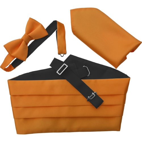Great British Tie Club Men'S Cummerbund Sets: Includes Bow Tie And Hanky/Pocket Squares (Orange)